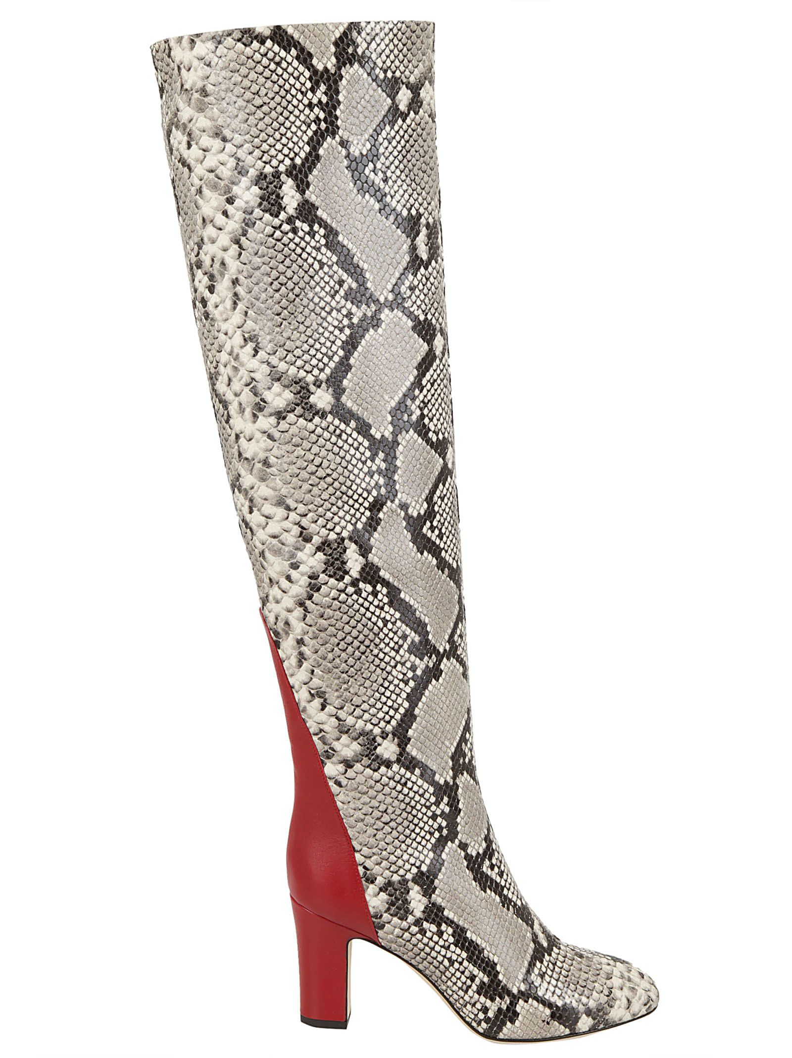 Python Print Knee High Boots in White