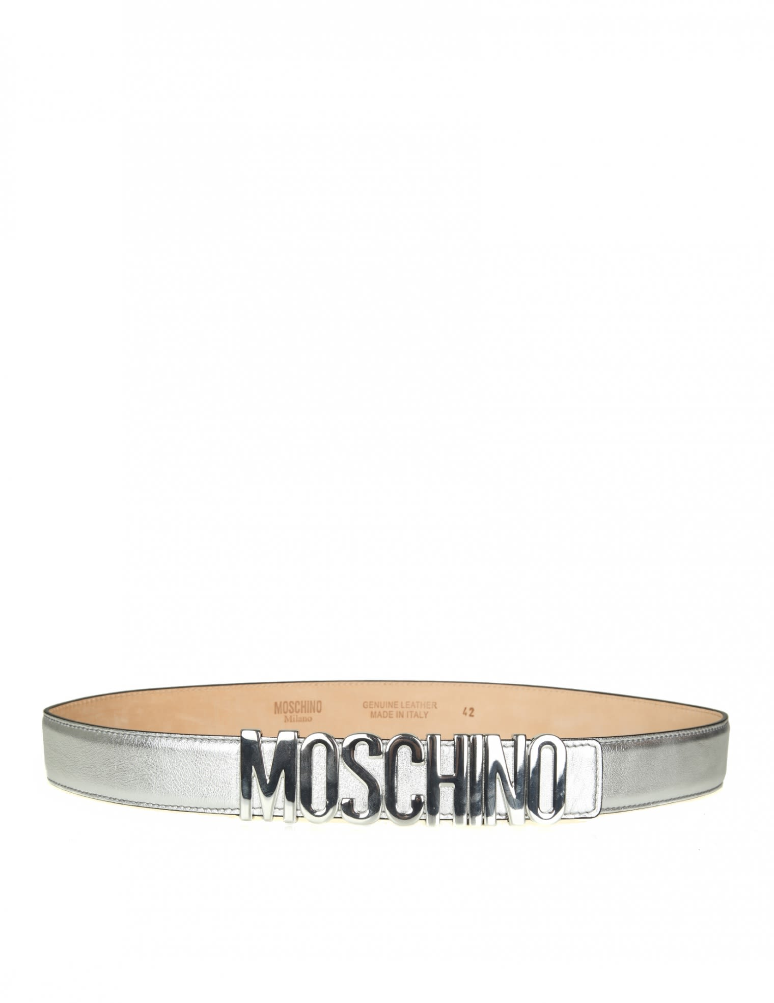 MOSCHINO BELT IN LAMINATED LEATHER COLOR SILVER WITH LOGO