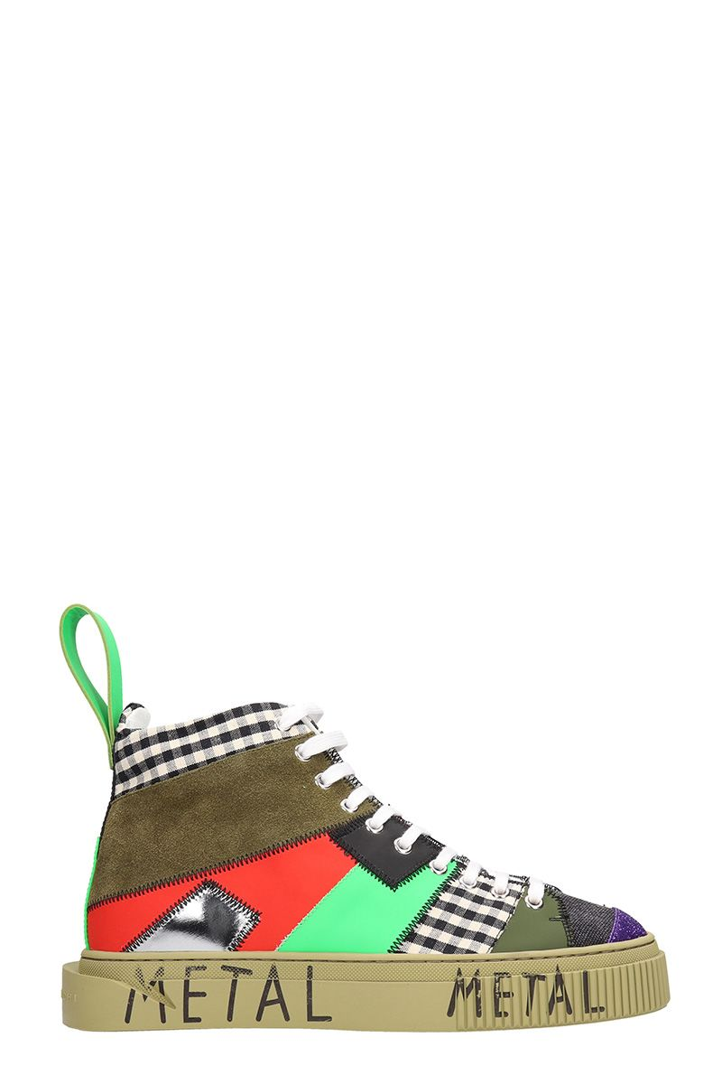 GIENCHI Patchwork Multicolor Sneakers in Green