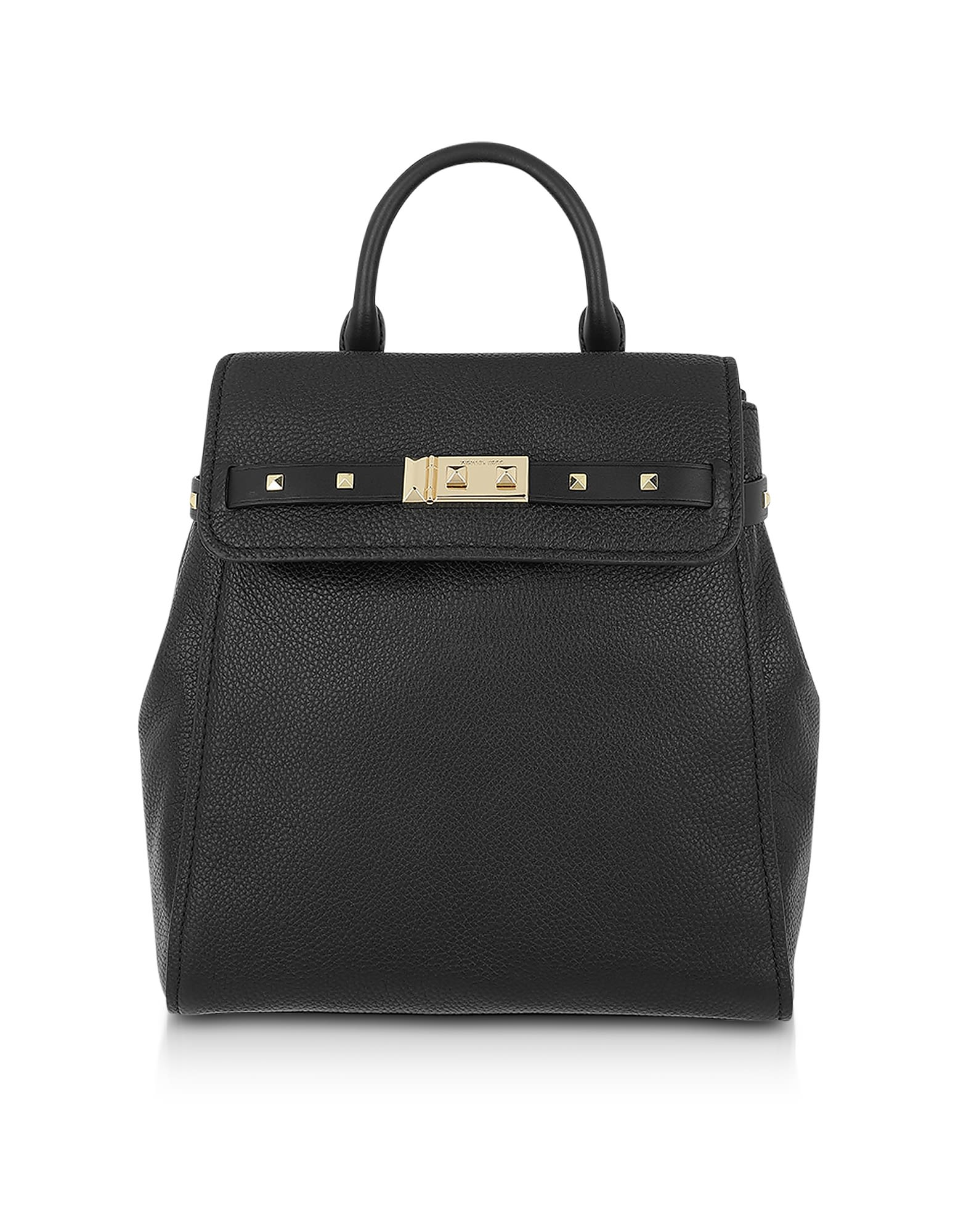 Michael Kors Black Pebbled Leather Addison Backpack