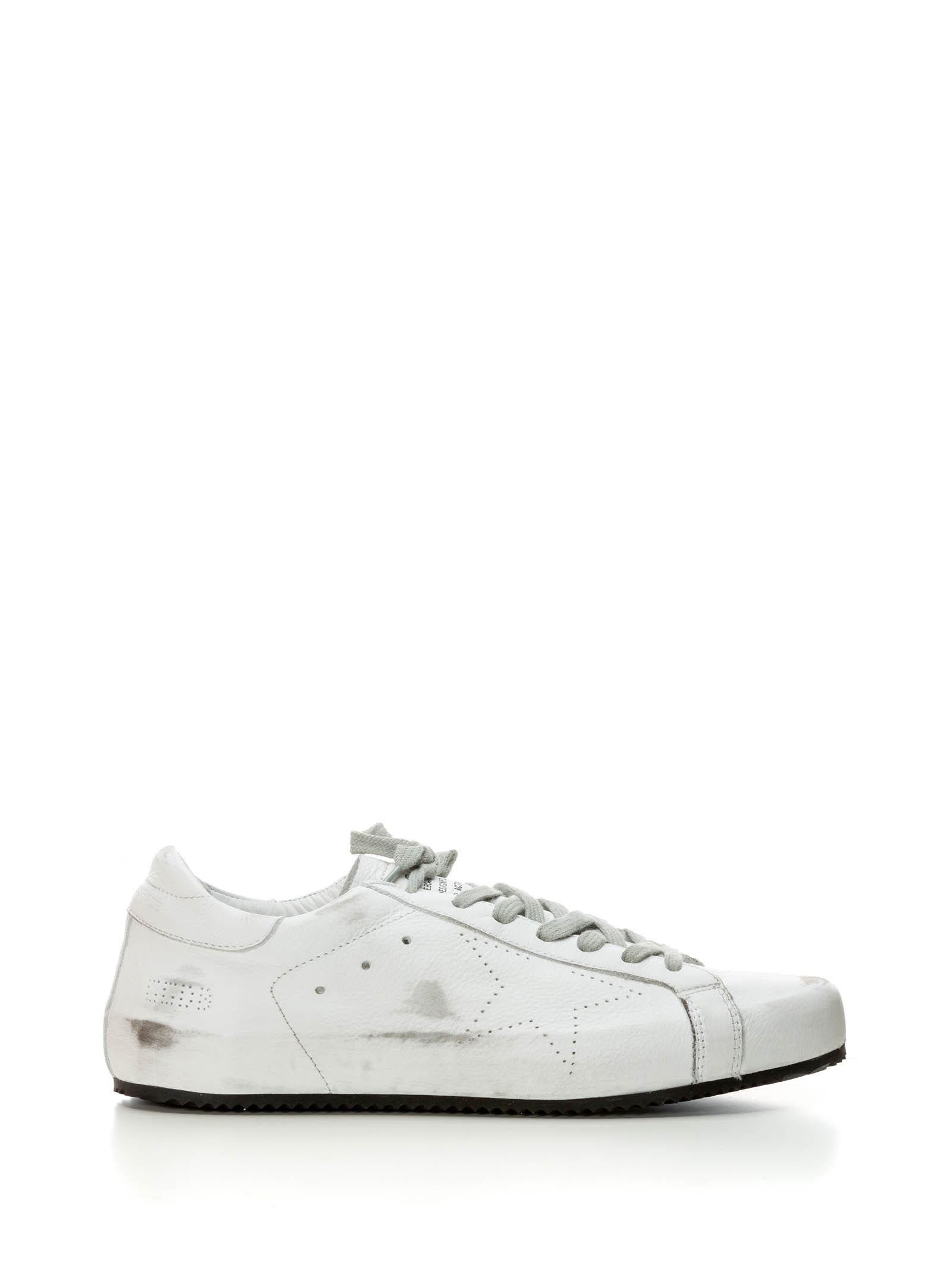 GOLDEN GOOSE WHITE LEATHER SNEAKERS