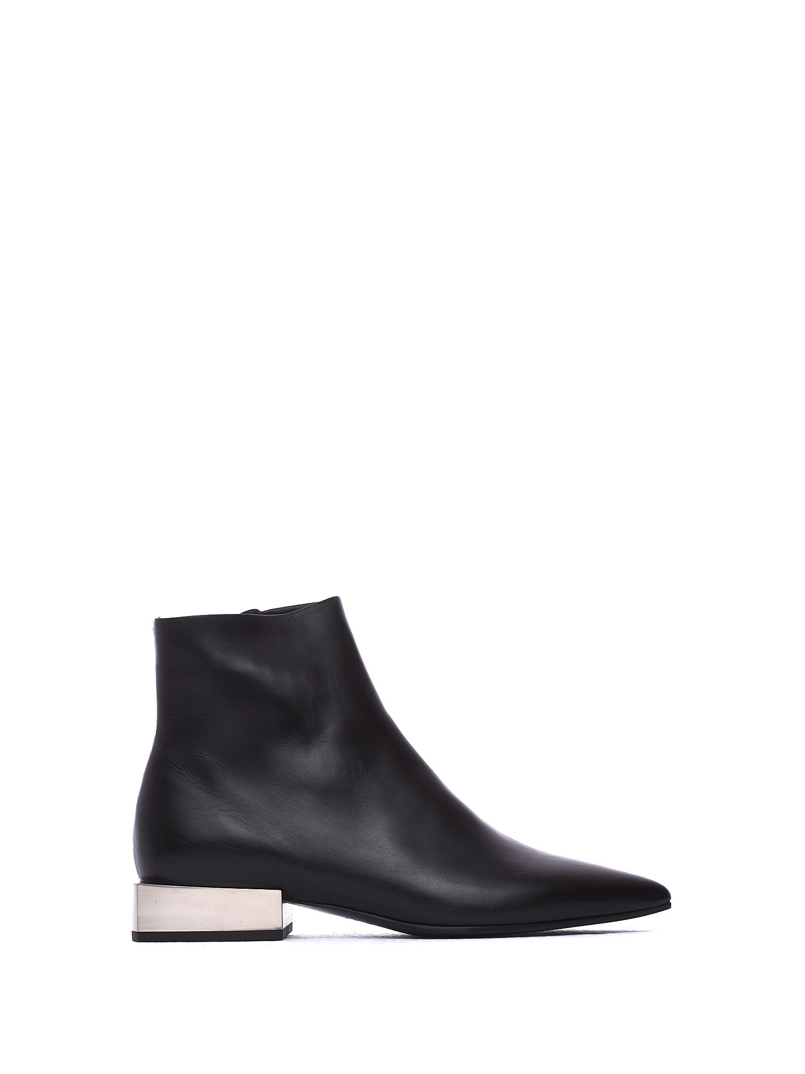 VIC MATIE Leather Heeled Ankle Boots With Metallic Block Heel in Nero