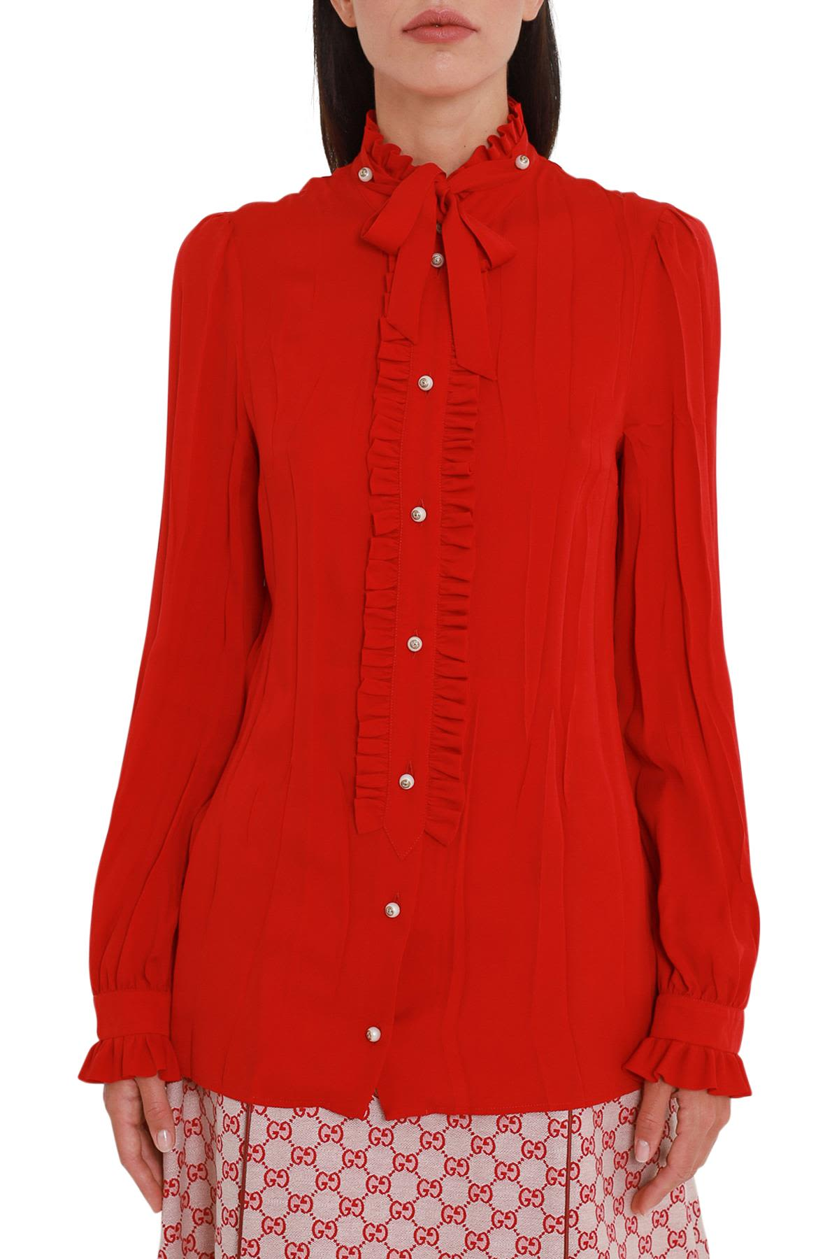 Gucci Georgette Shirt With Ruffles And Pearl Buttons