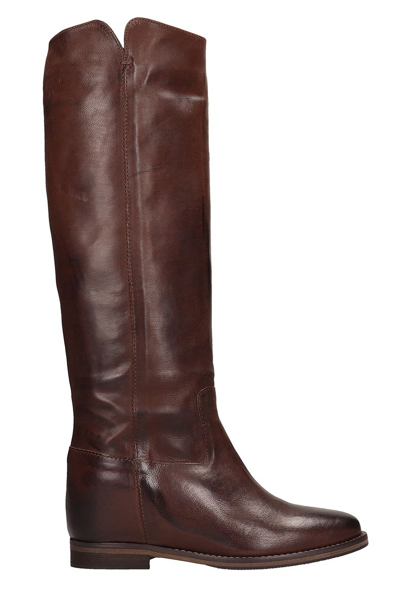 JULIE DEE High Choco Leather Boots in Brown