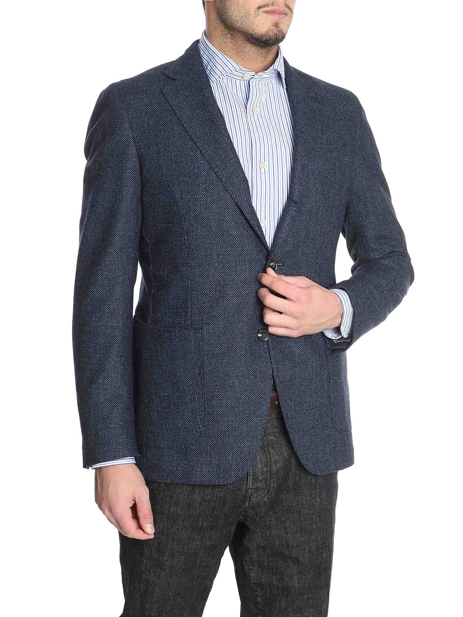 LUIGI BORRELLI Single Breasted Blazer in Blue