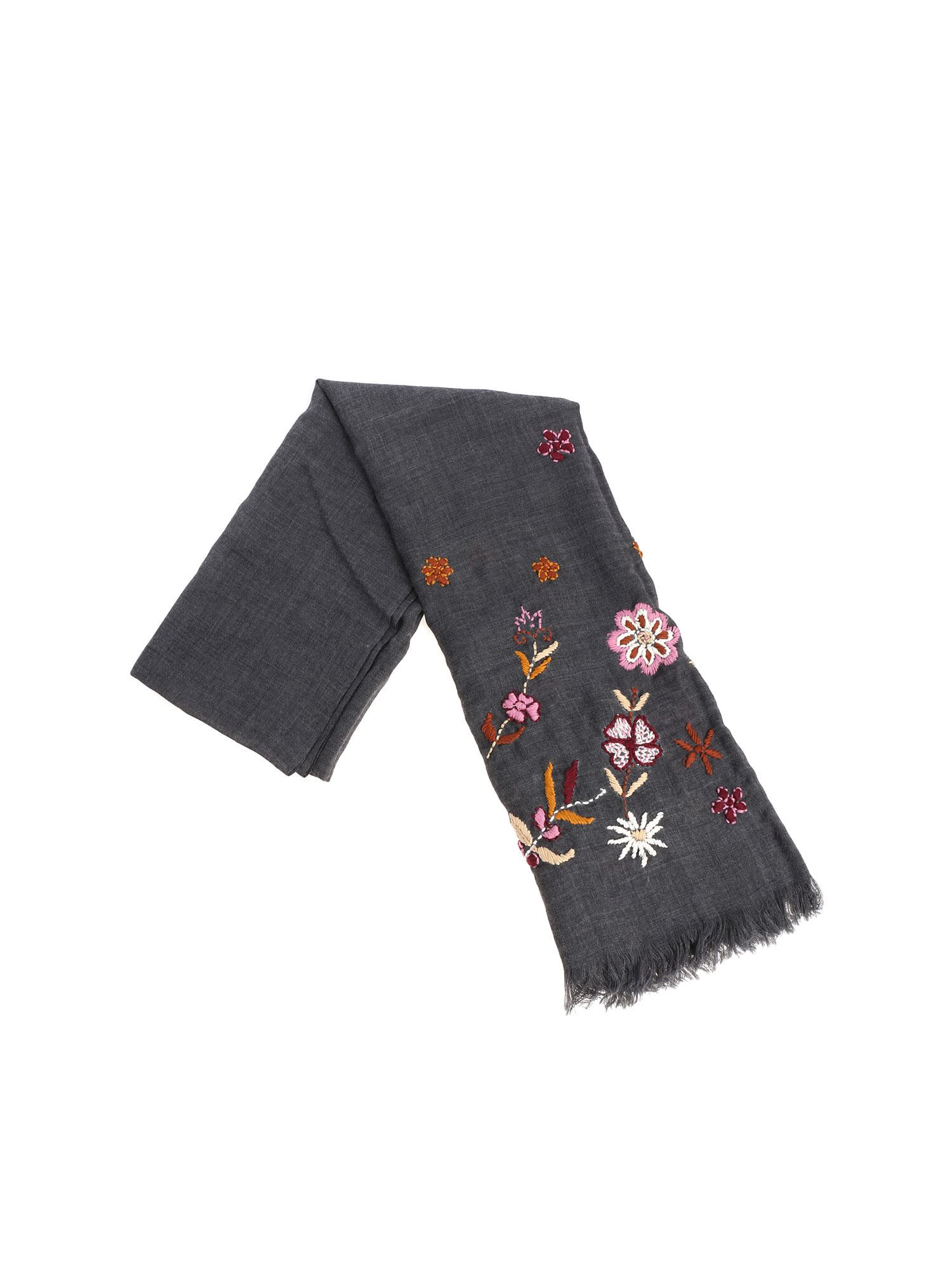ALTEA Embroidered Scarf in Grey/Pink