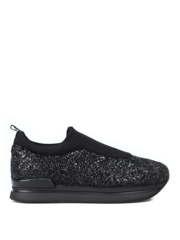 H222 Scuba And Metallic Glitter Slip-Ons, Black