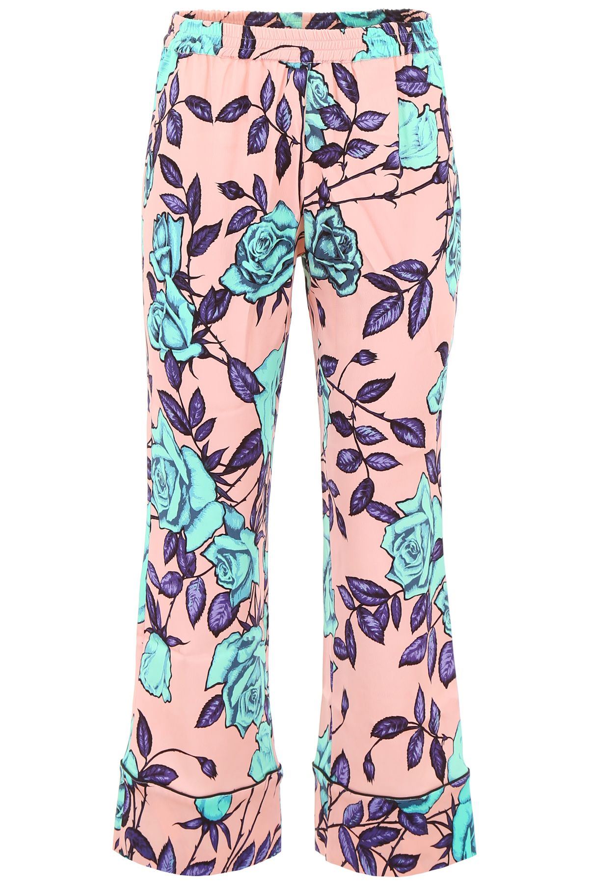 SCRAMBLED EGO Pyjama Trousers With Roses Print in Pink Violet