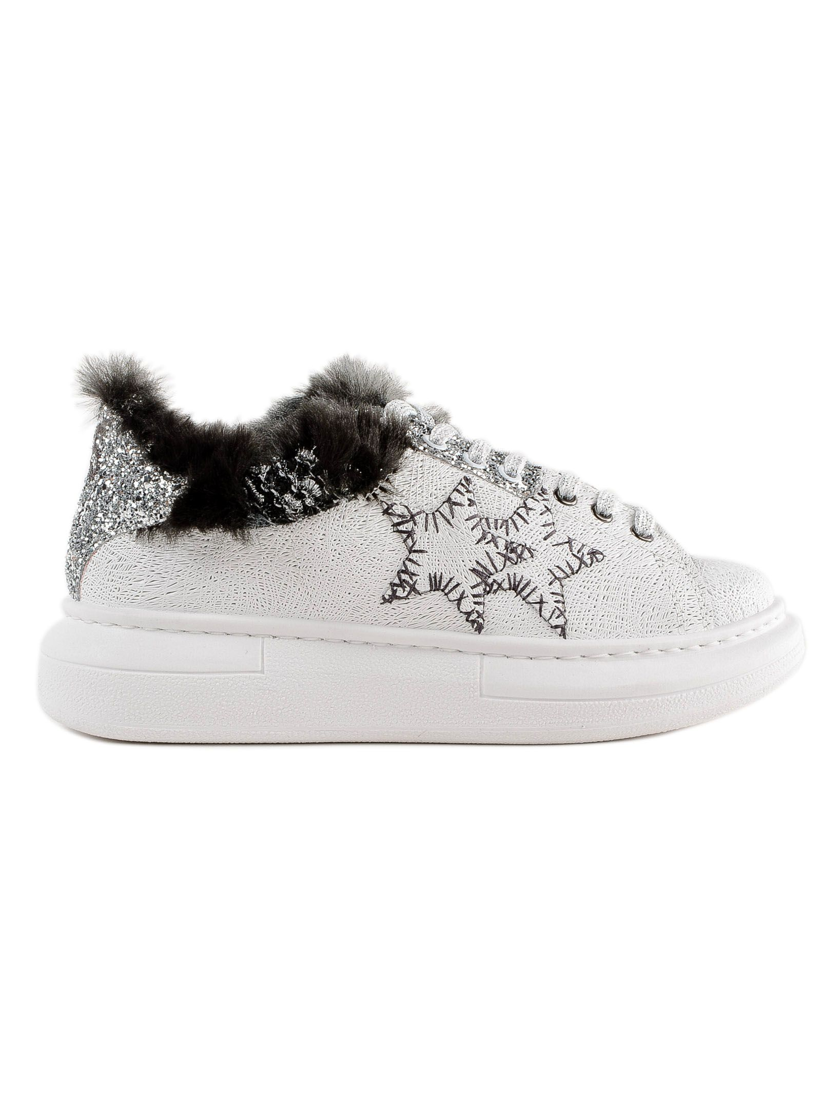 2STAR 2 Star Fur And Glittered Sneakers in Bianco/Grigio