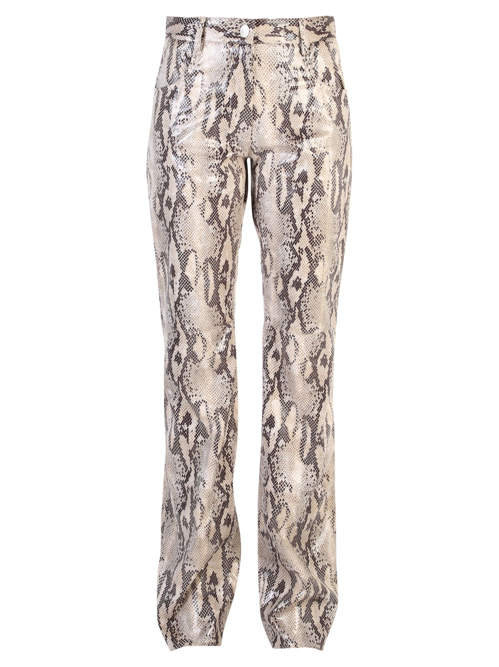 Beige Printed Trousers