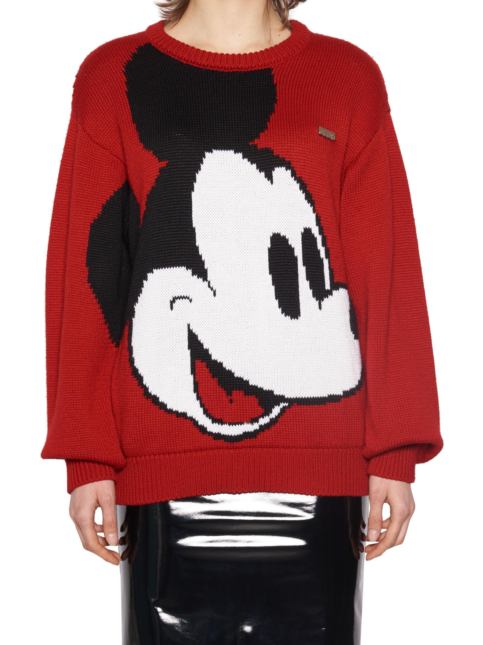 Gcds X Disney Mickey Mouse Knit Sweater in Red
