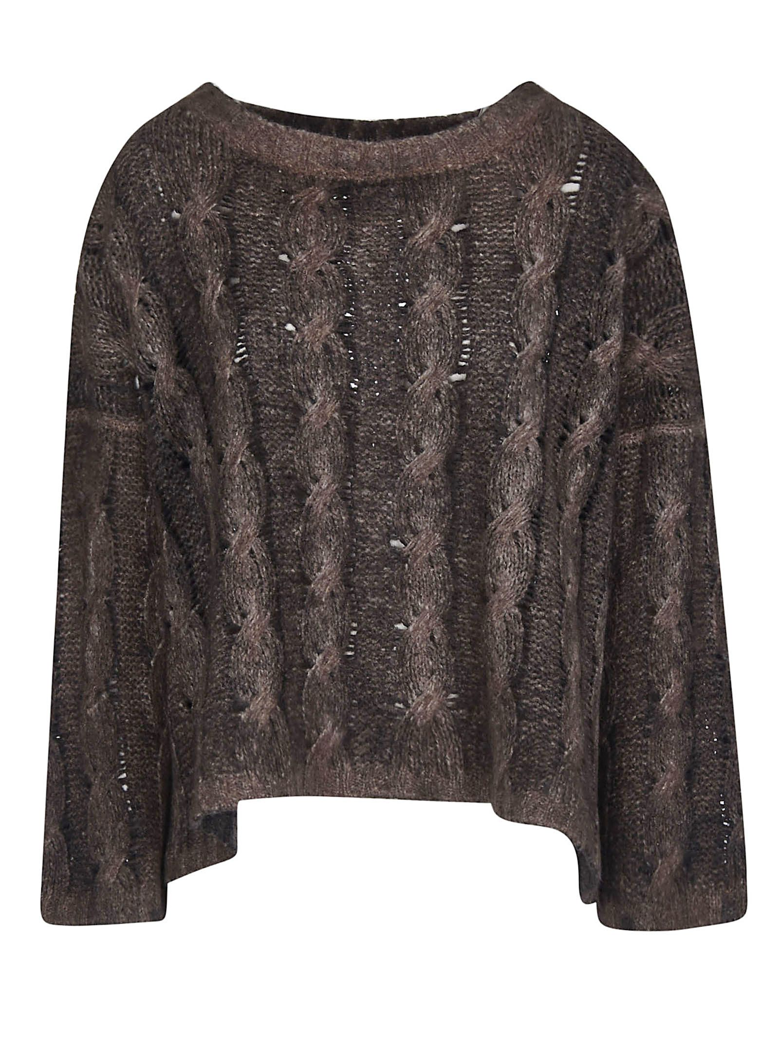 F CASHMERE F Cashmere Cropped Knitted Sweater in Walnut