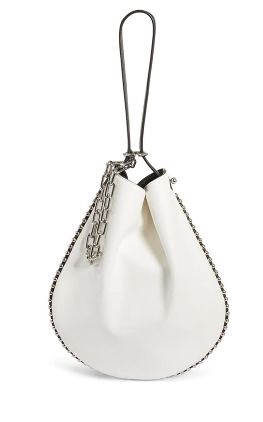 Roxy Hobo Bicolor Pebbled-Leather Shoulder Bag, Bianco