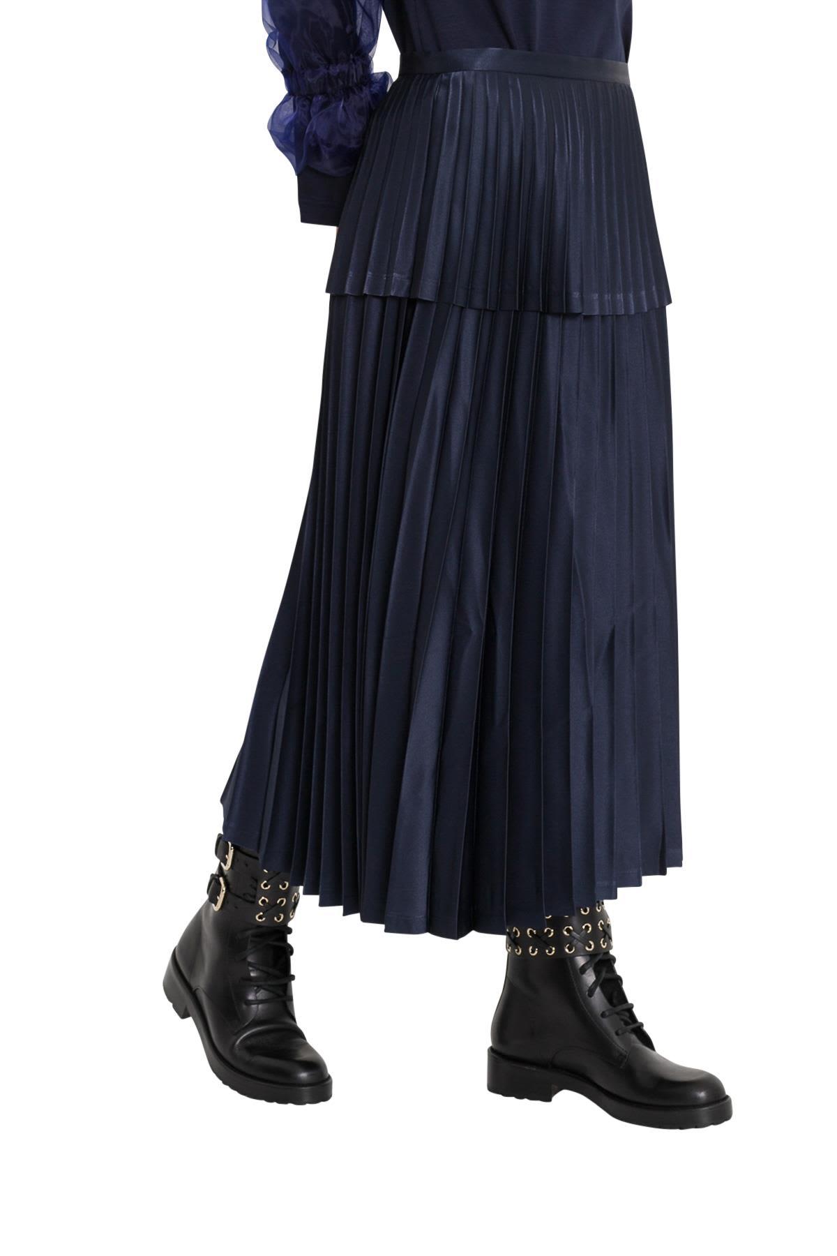 NOIR KEI NINOMIYA Pleated Satin Midi Skirt in Navy