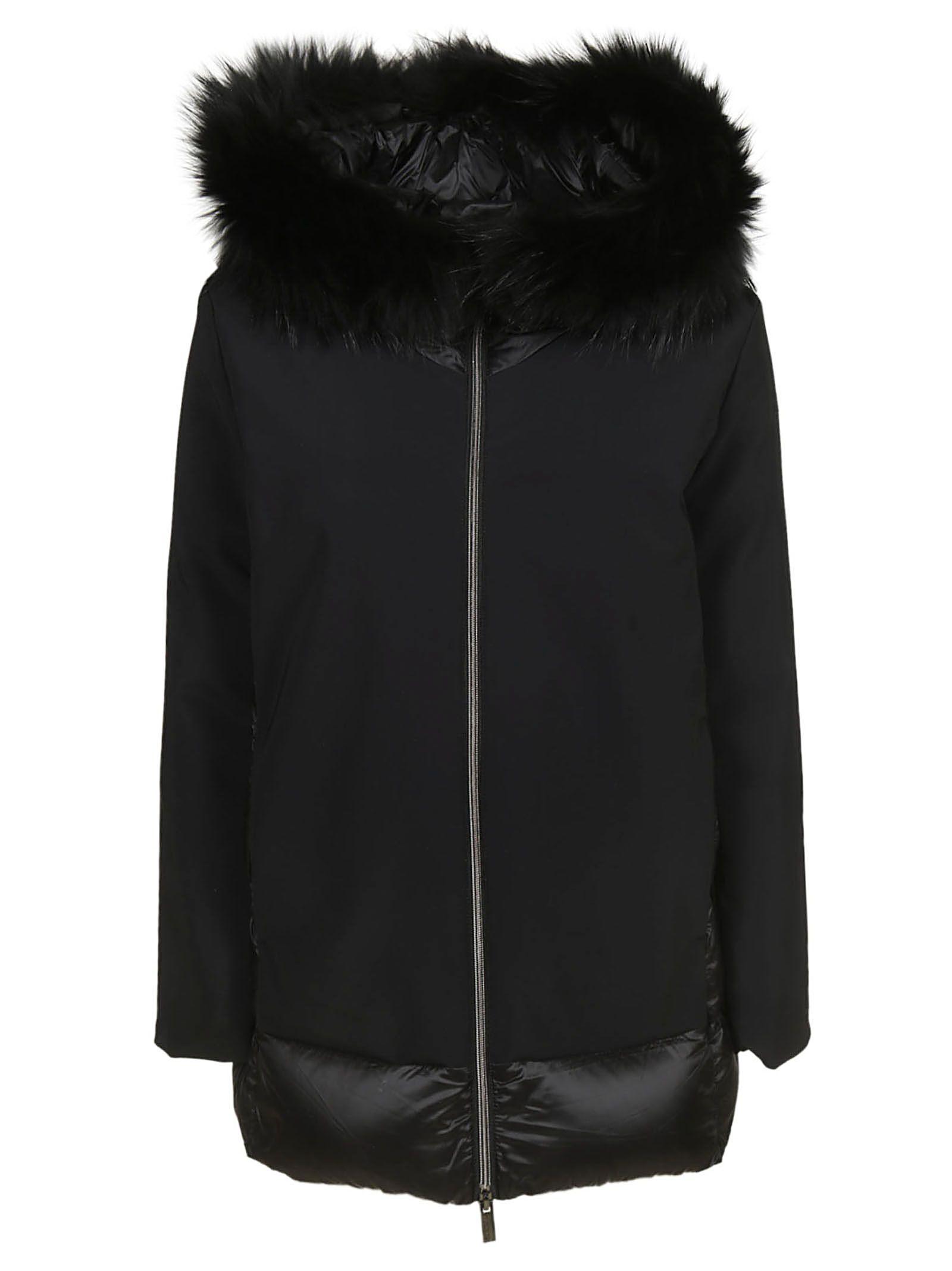 Rrd - Roberto Ricci Design Fur Trim Hooded Jacket, Nero