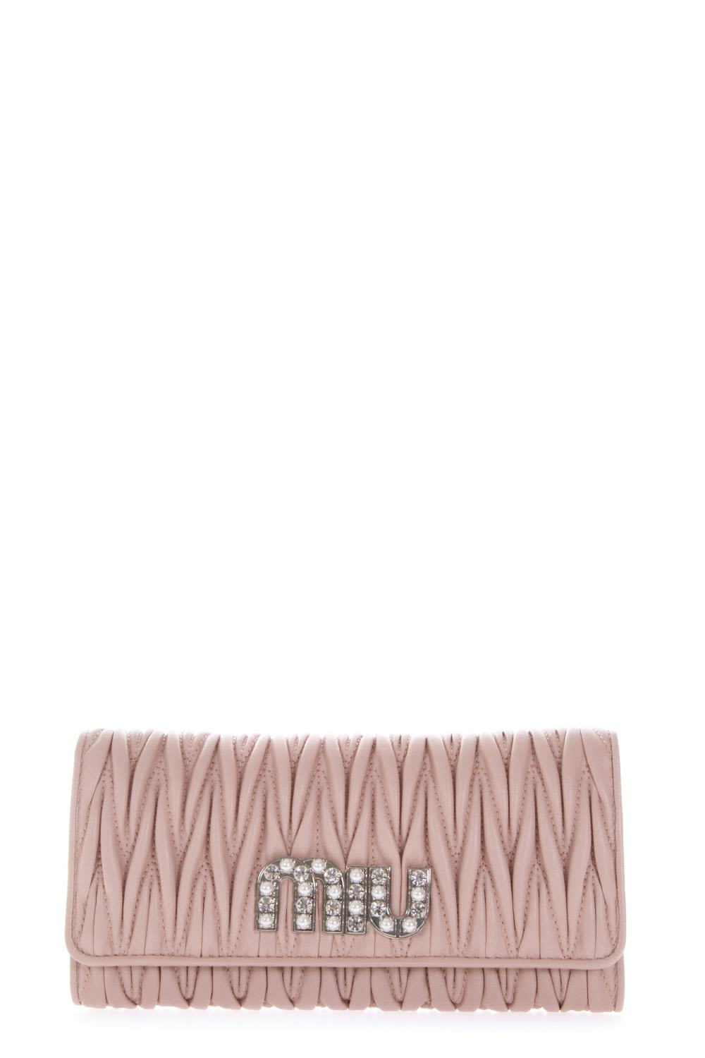 MIU MIU EMBELLISHED LOGO QUILTED ORCHID LEATHER WALLET