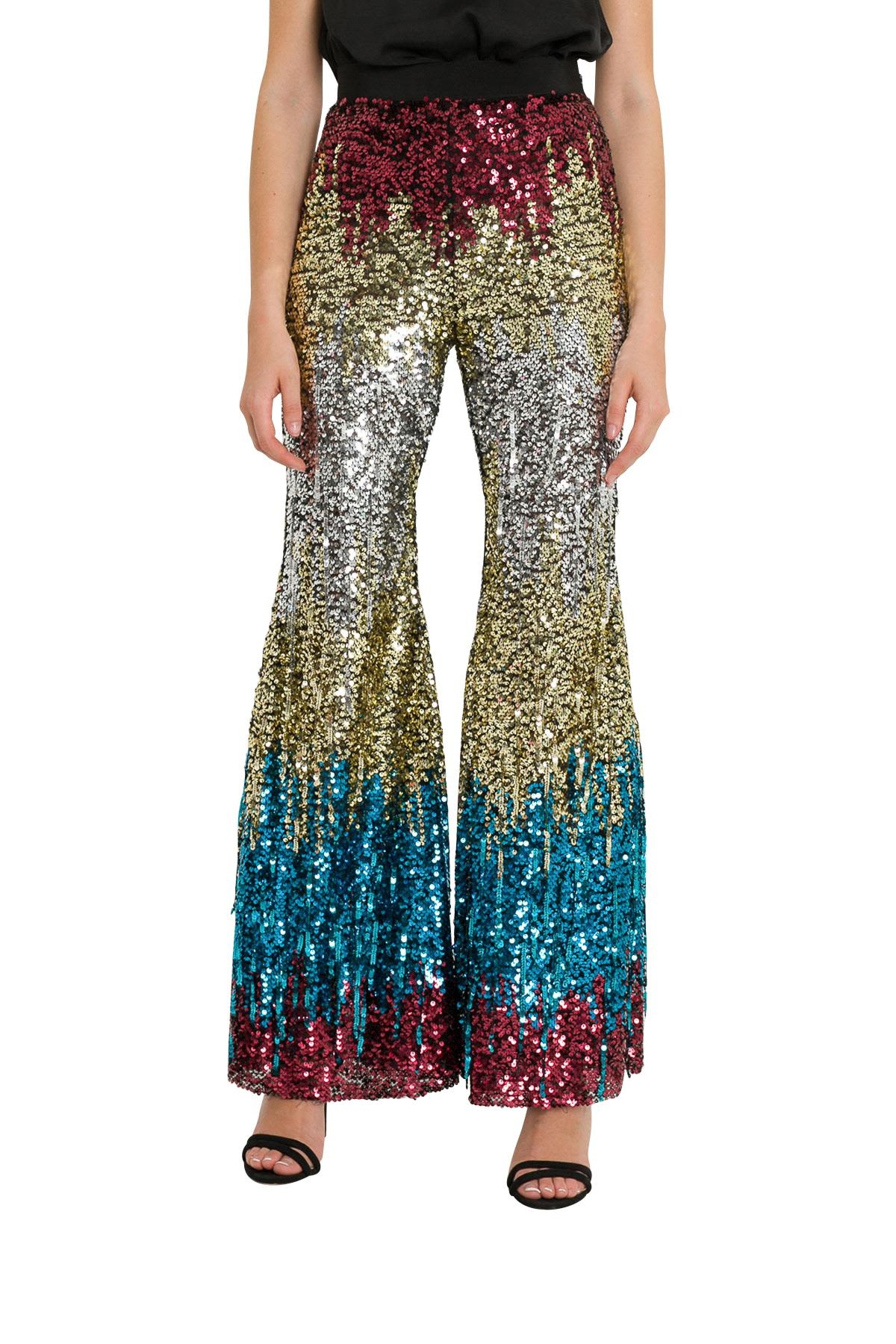 Amen Flared Pants With All-over Embroidery