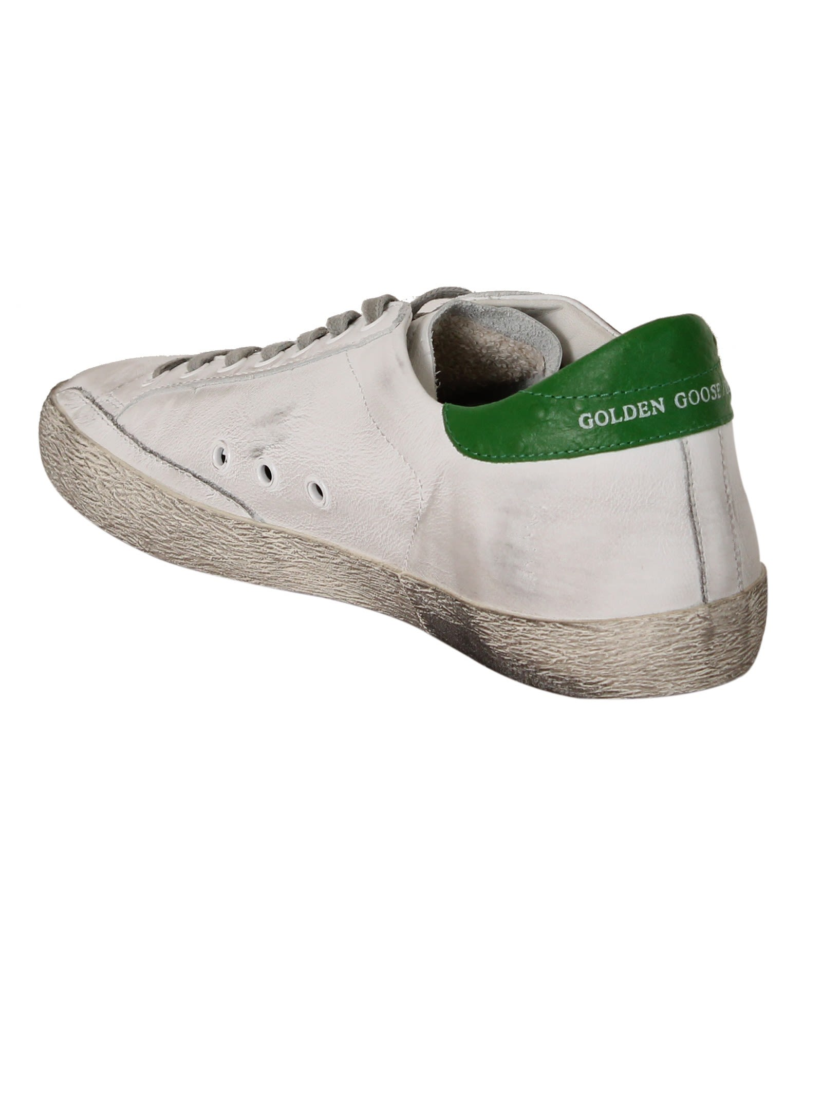 Golden Goose White & Green Superstar Sneaker