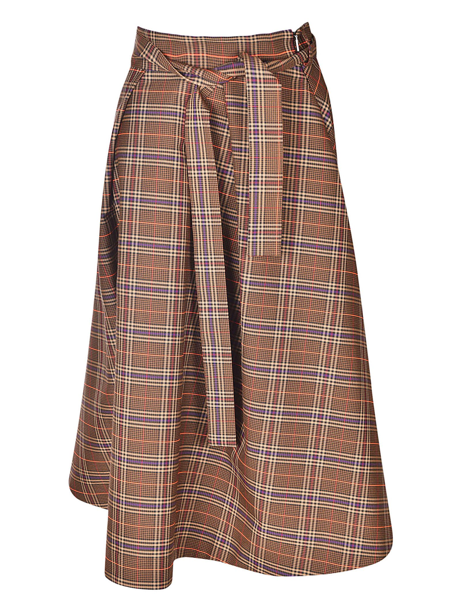 CHECKED FLARED SKIRT