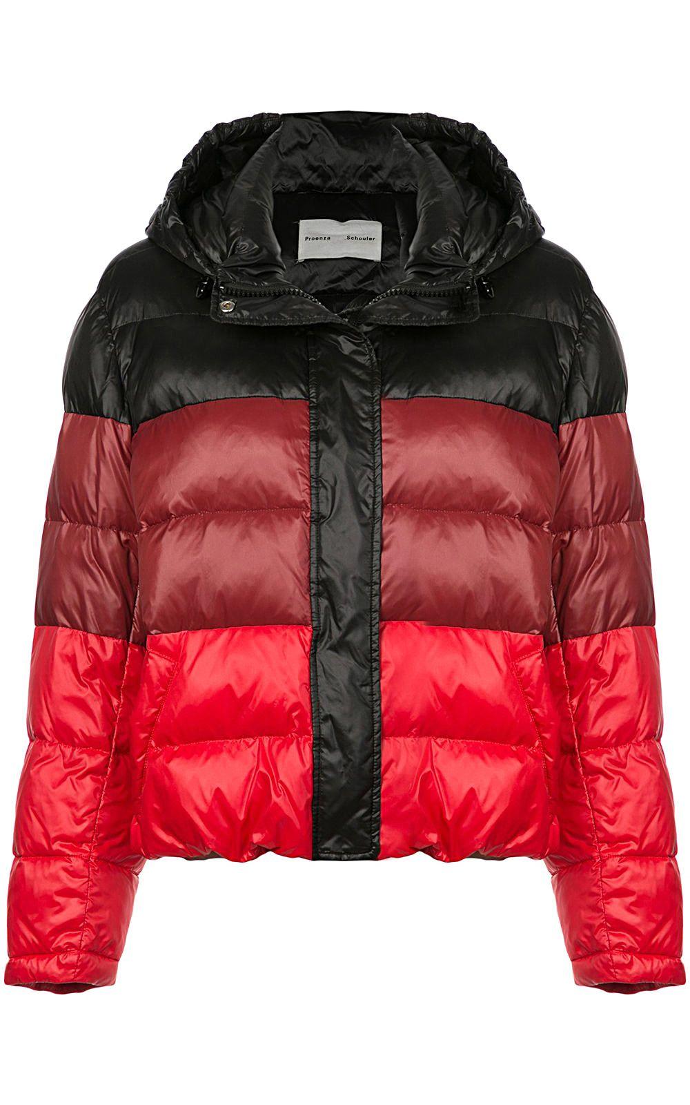 proenza schouler -  Striped Nylon Hooded Puffer Jacket