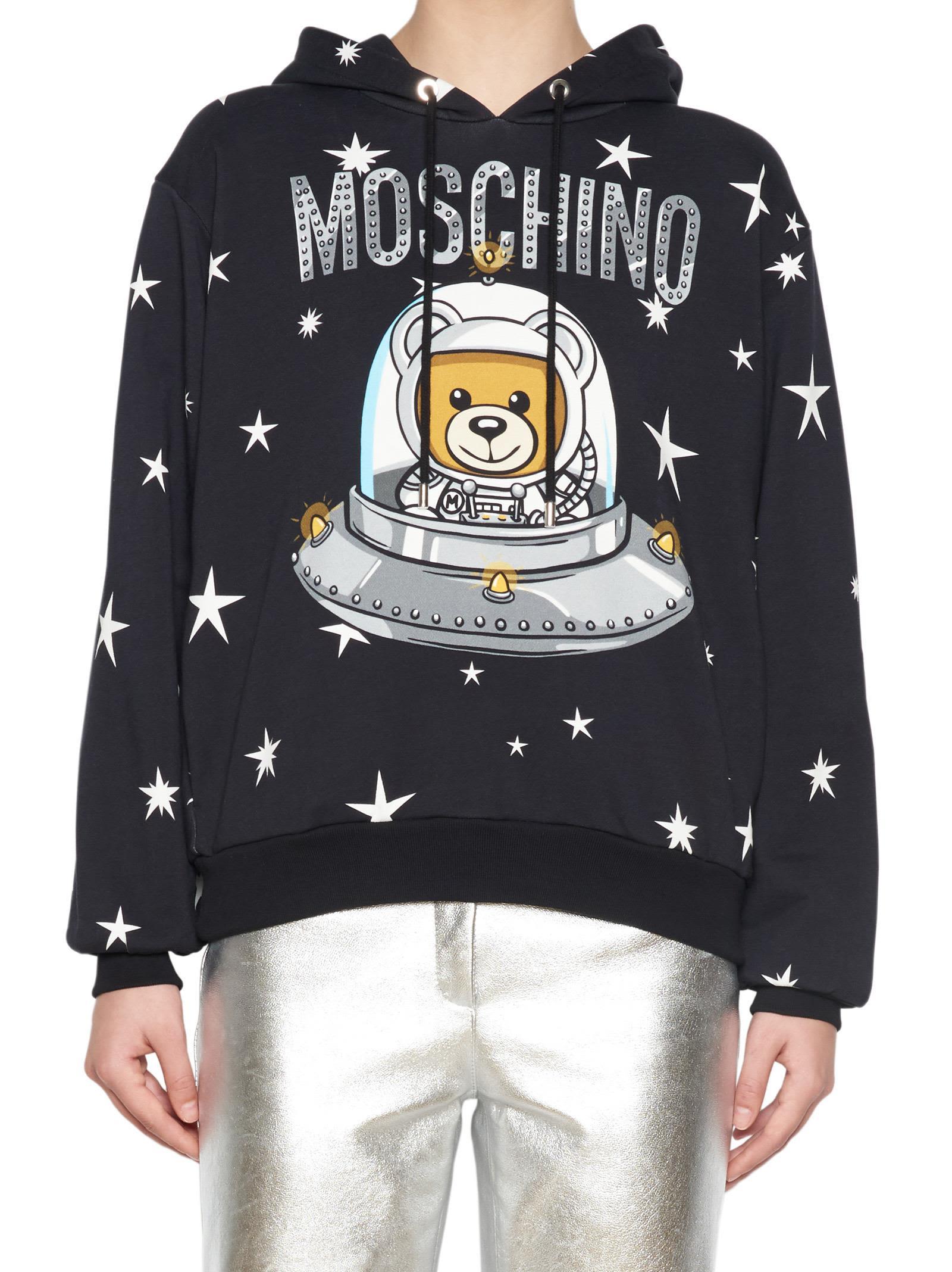 Astro Teddy Print Hoodie, Black