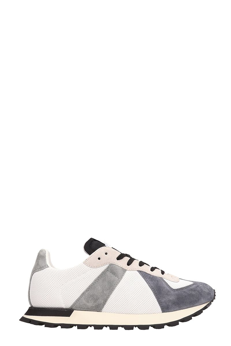 Maison Margiela Grey Suede And Fabric Sneakers