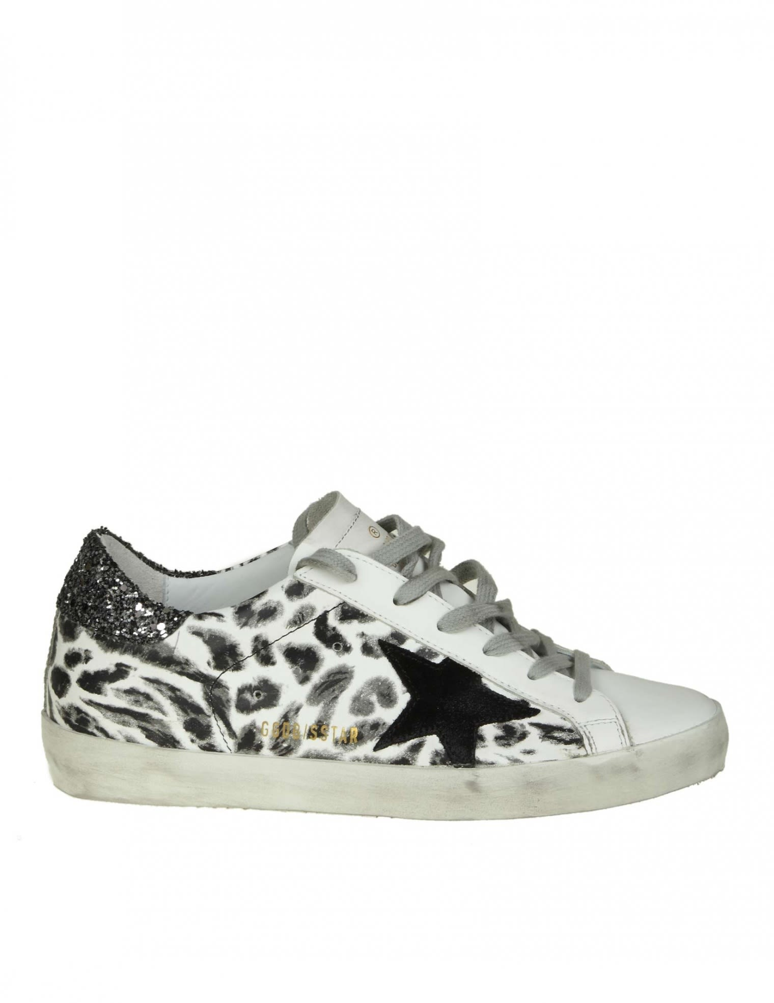 """Superstar"" Sneakers In White Leather With Leoparded Prin, Black Leopard"