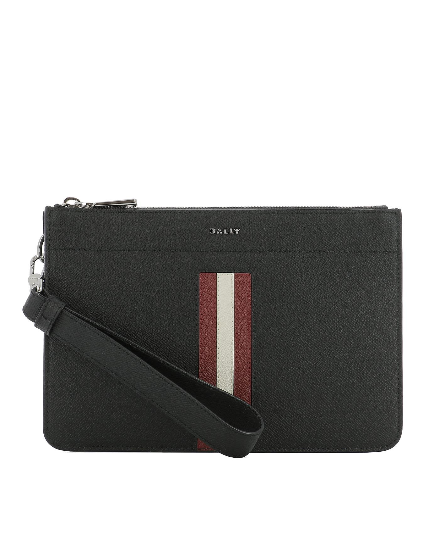 BALLY BLACK LEATHER POCHETTE