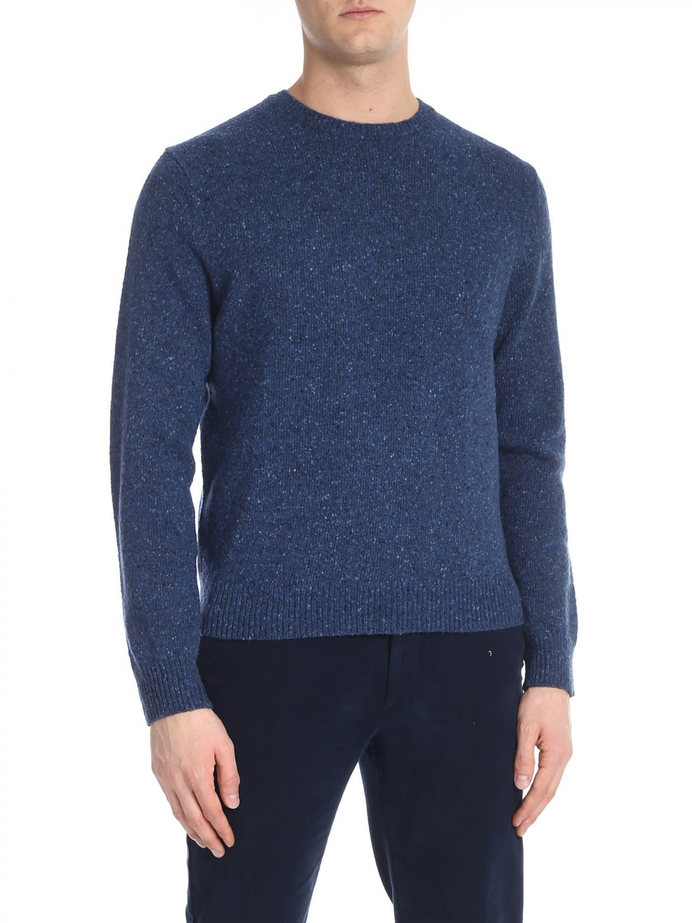 BROOKS BROTHERS Round Neck Wool in Blue