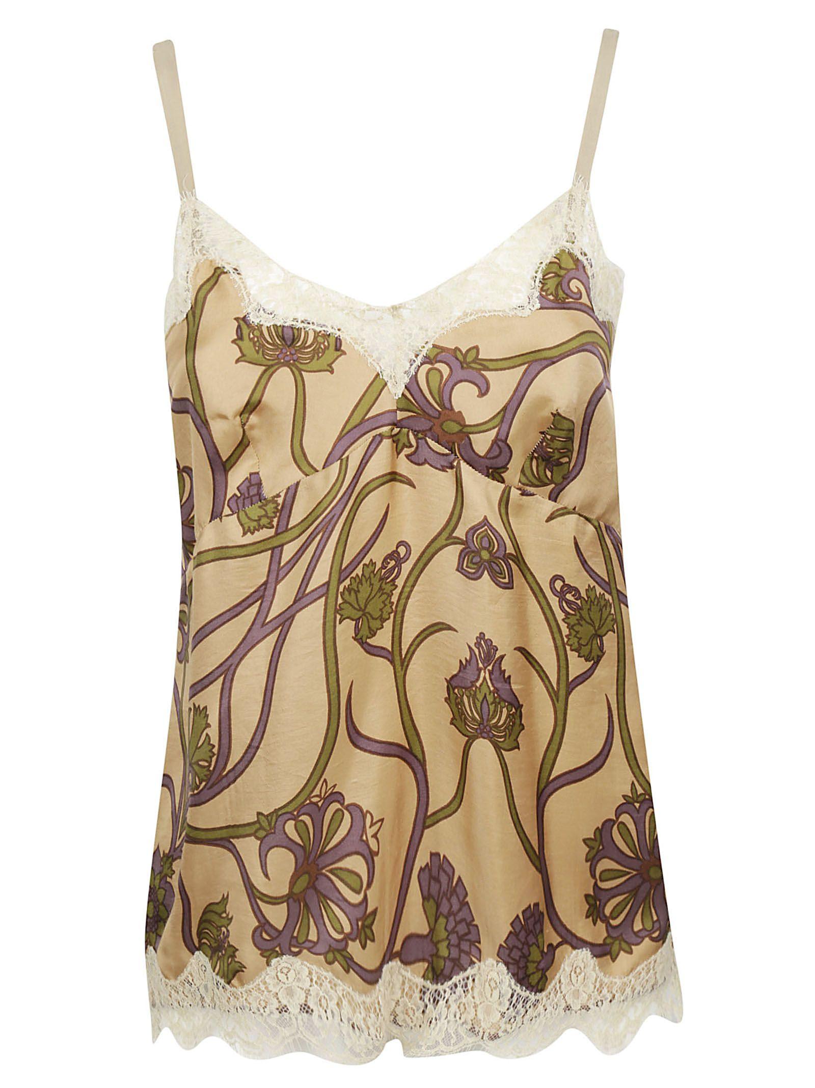 Ibrigu Lace Detailed Floral Print Tank Top