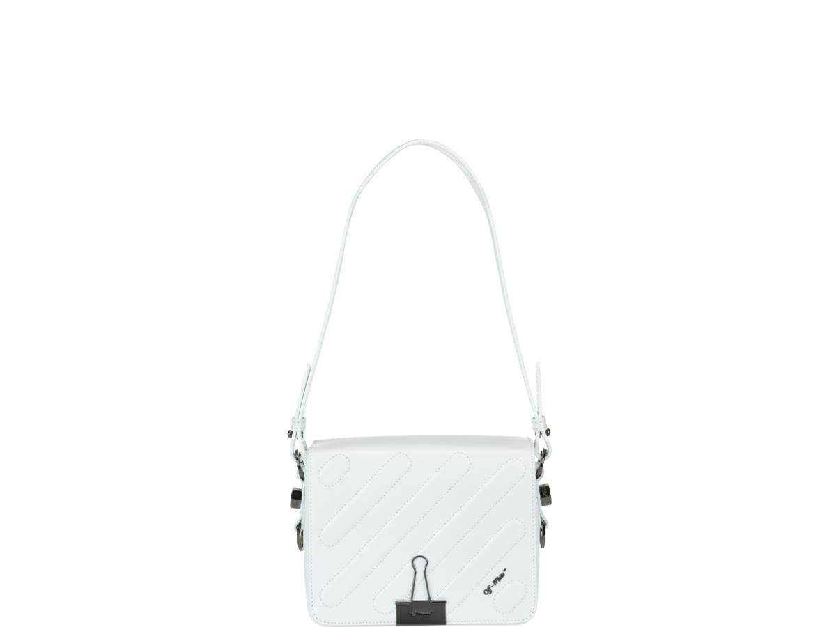 off-white -  Diagonal Quilted Binder Clip Bag