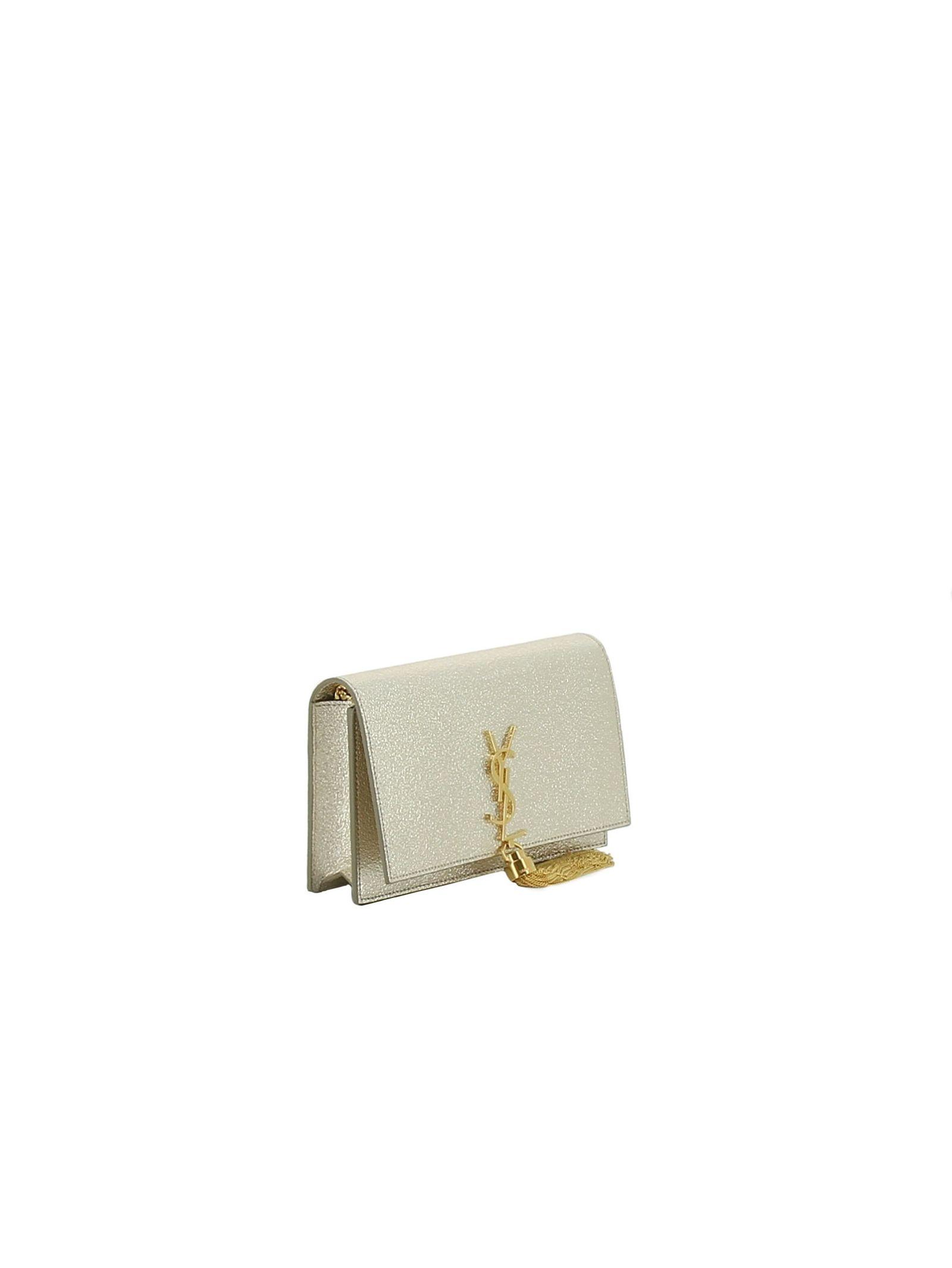 ... Saint Laurent Classic Kate Monogram Tassel Chain Wallet - Silver ... c5737ef363