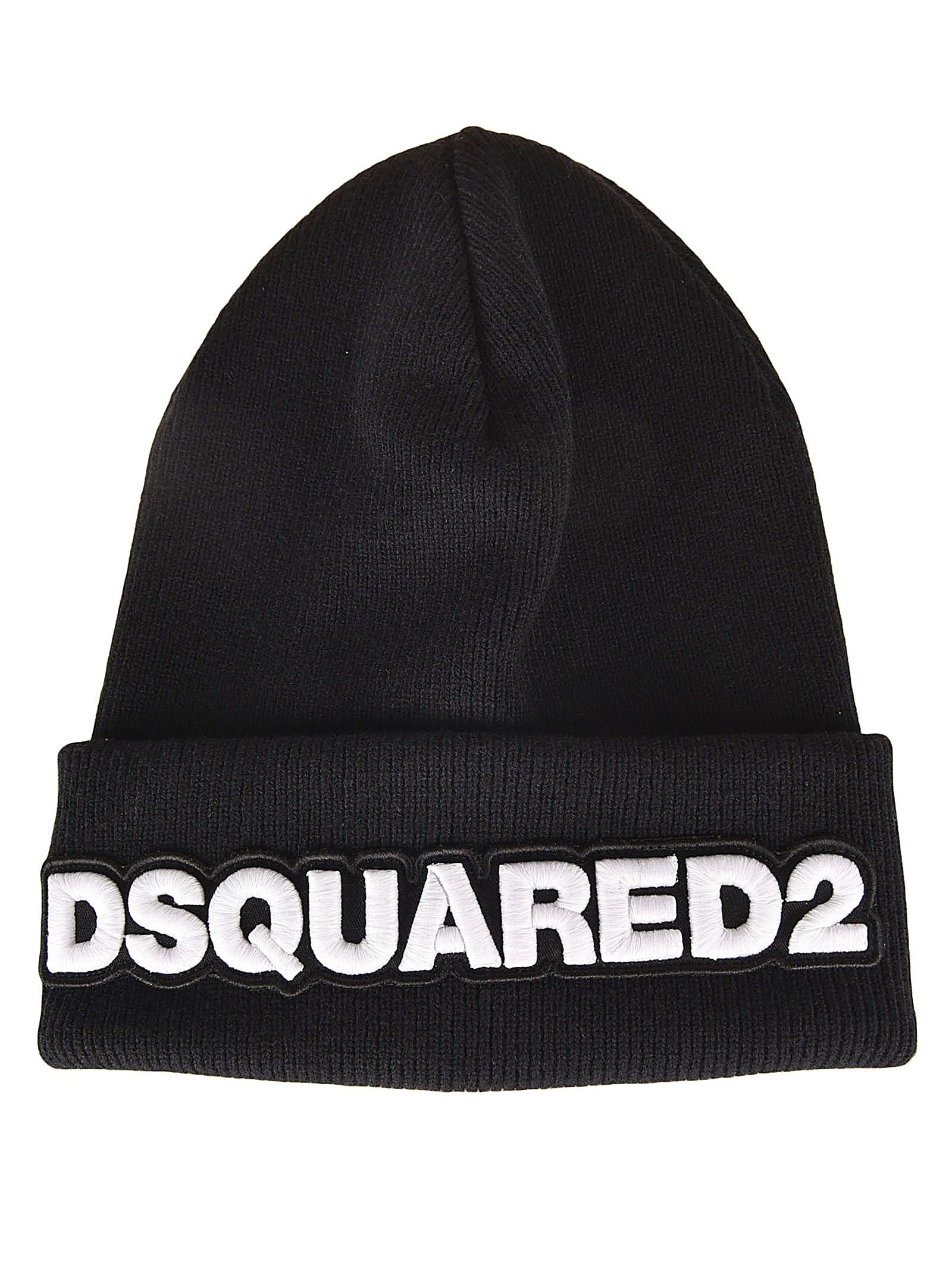 34331865d49 Dsquared2 Logo Embroidered Beanie - Black ...
