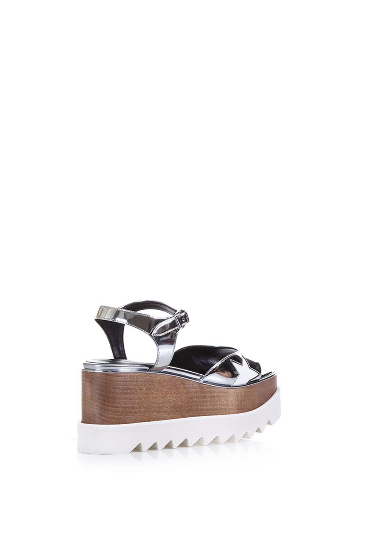 800e3d6f5396 ... Stella McCartney Elyse Faux Metallic Leather Sandals - Silver ...