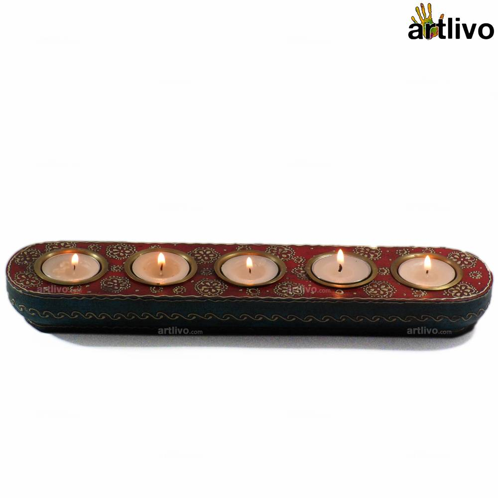 BOLD RED Straight 5 Tealight Strip