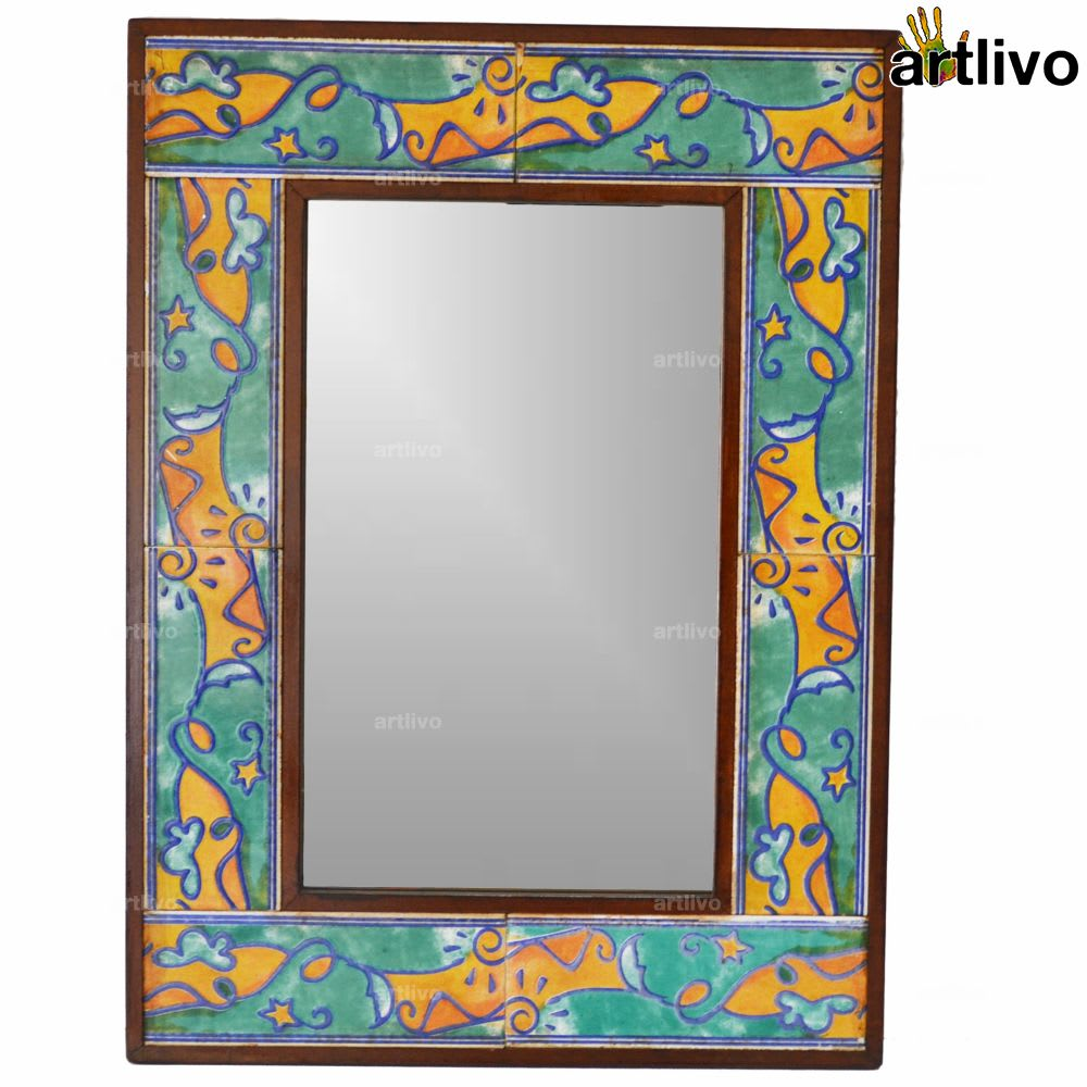 "22"" Handcrafted Decorative Bathroom Wall Hanging Tile Mirror Frame"