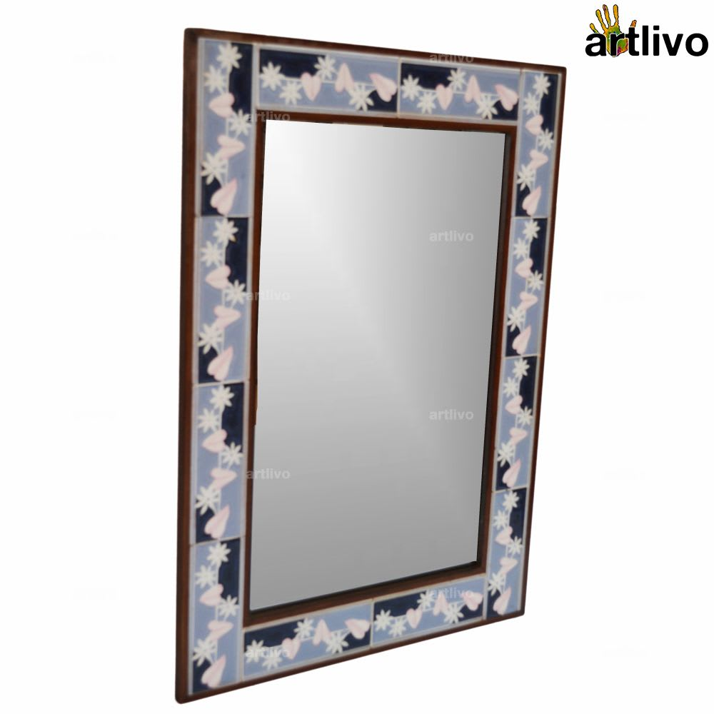 Designer Winter Love 32 Inches Wall Hanging Tile Mirror Frame