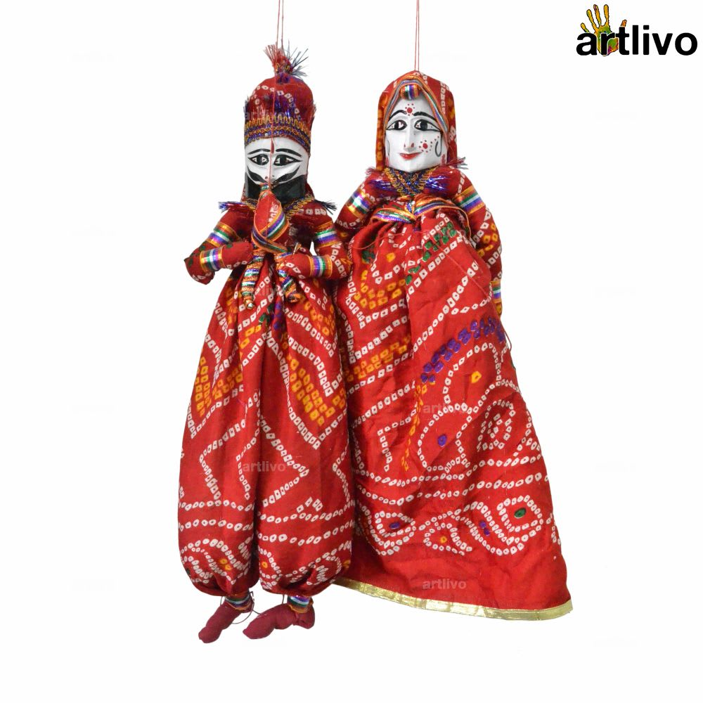 "POPART Red Chundri Kathputli Puppet Set 20"""