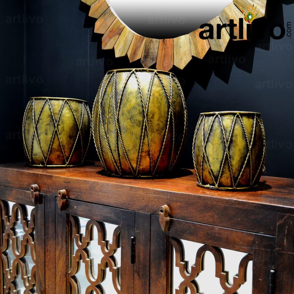 Iron Pot: Set Of 3 Golden