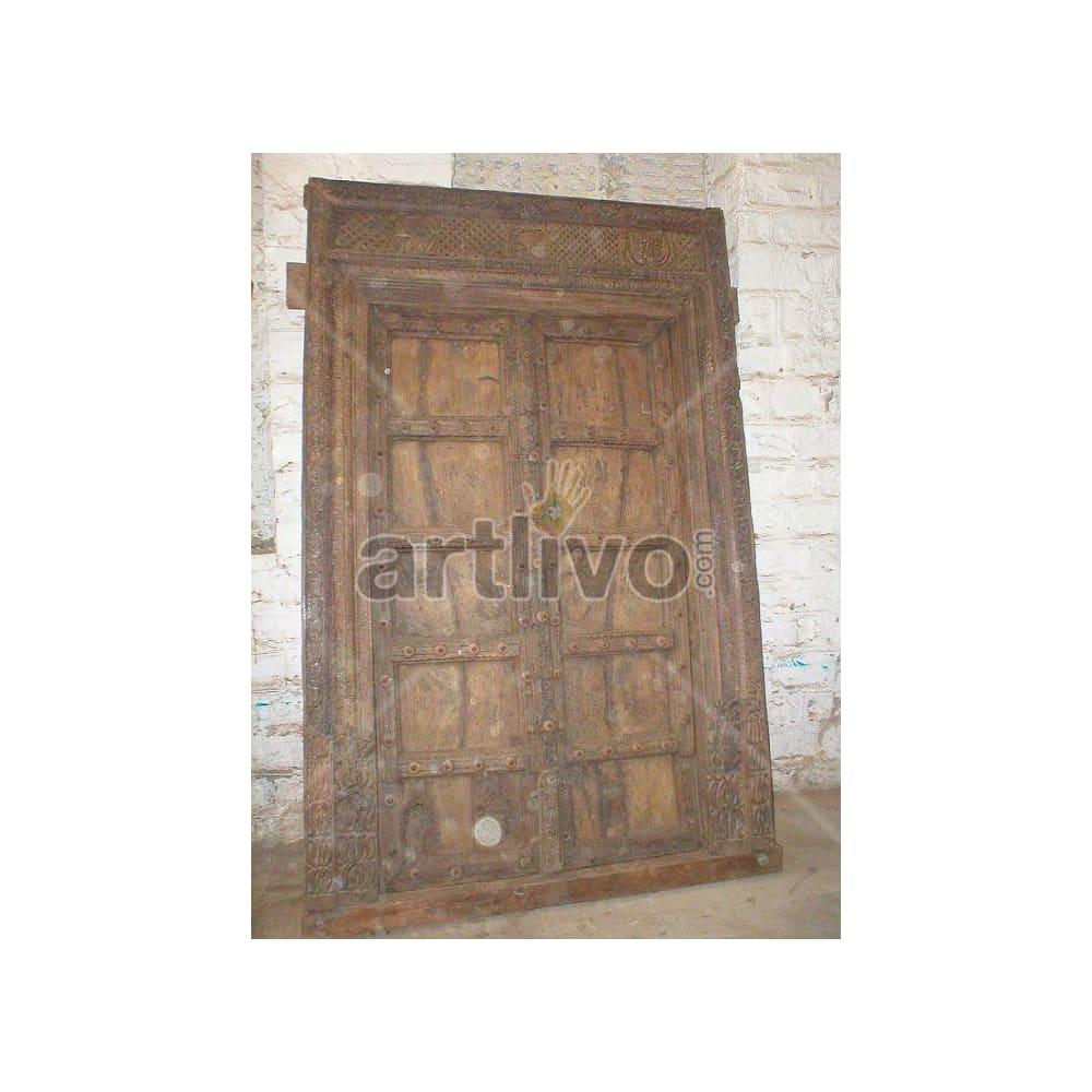 Vintage Indian Sculptured Marvellous Solid Wooden Teak Door