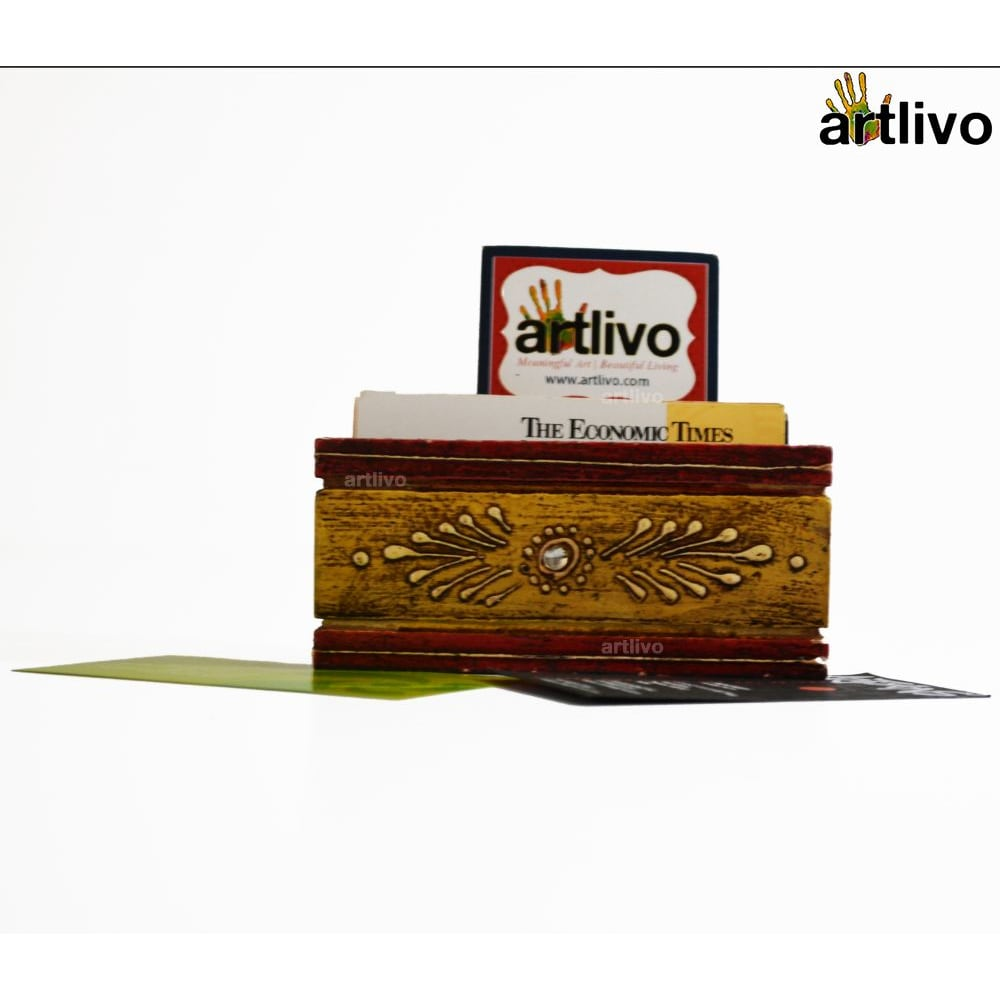 EMBOSSED Mustard Card Holder