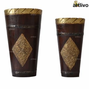 Regal Wooden Decorative Long Bins Set of 2