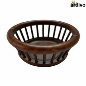 Wooden Decorative Round Basket
