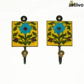 Blue Lily Ceramic Hooks