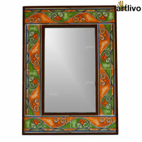 22 Inches Exotic Bathroom Wall Hanging Tile Mirror Frame