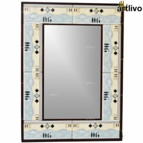 "22"" Decorative Bathroom Wall Hanging Tile Mirror Frame - MR071"