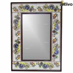 "22"" Decorative Bathroom Wall Hanging Tile Mirror Frame - MR072"