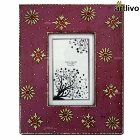 EMBOSSED Magenta Floral Photo Frame