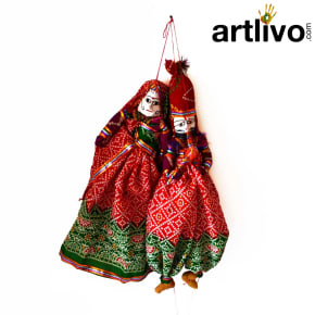 POPART Red Chundari With Green Boder Kathputli Puppet 20""