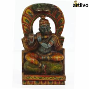 POPART Wooden Krishna with Flute